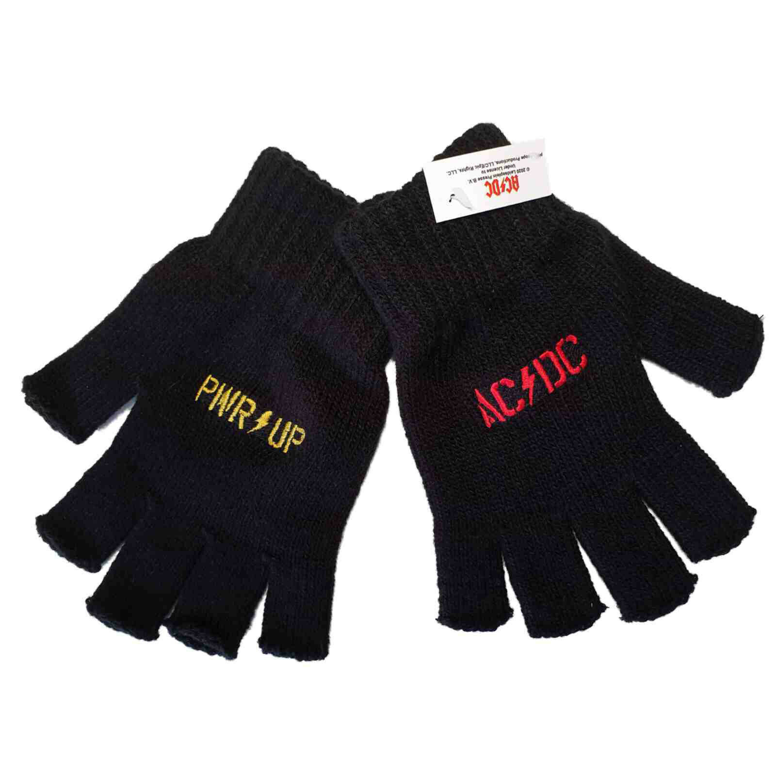 AC/DC Pwr Up Logo Symbol Official Black Knit Fingerless Gloves New