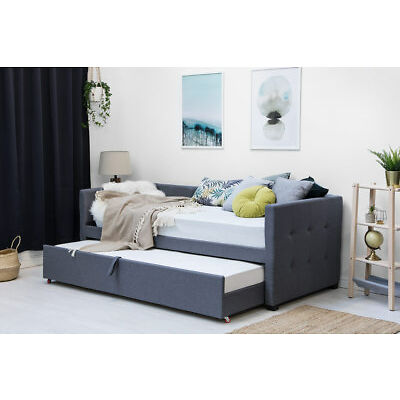 Grey Charcoal Fabric Upholstered Day Bed Inc Pull Out Guest Trundle Bed Single