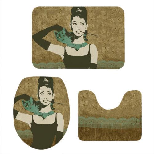 Audrey Hepburn Bath Mat Rug Toilet Cover 3pcs Non-Slip Washable Pedestal Rug Set