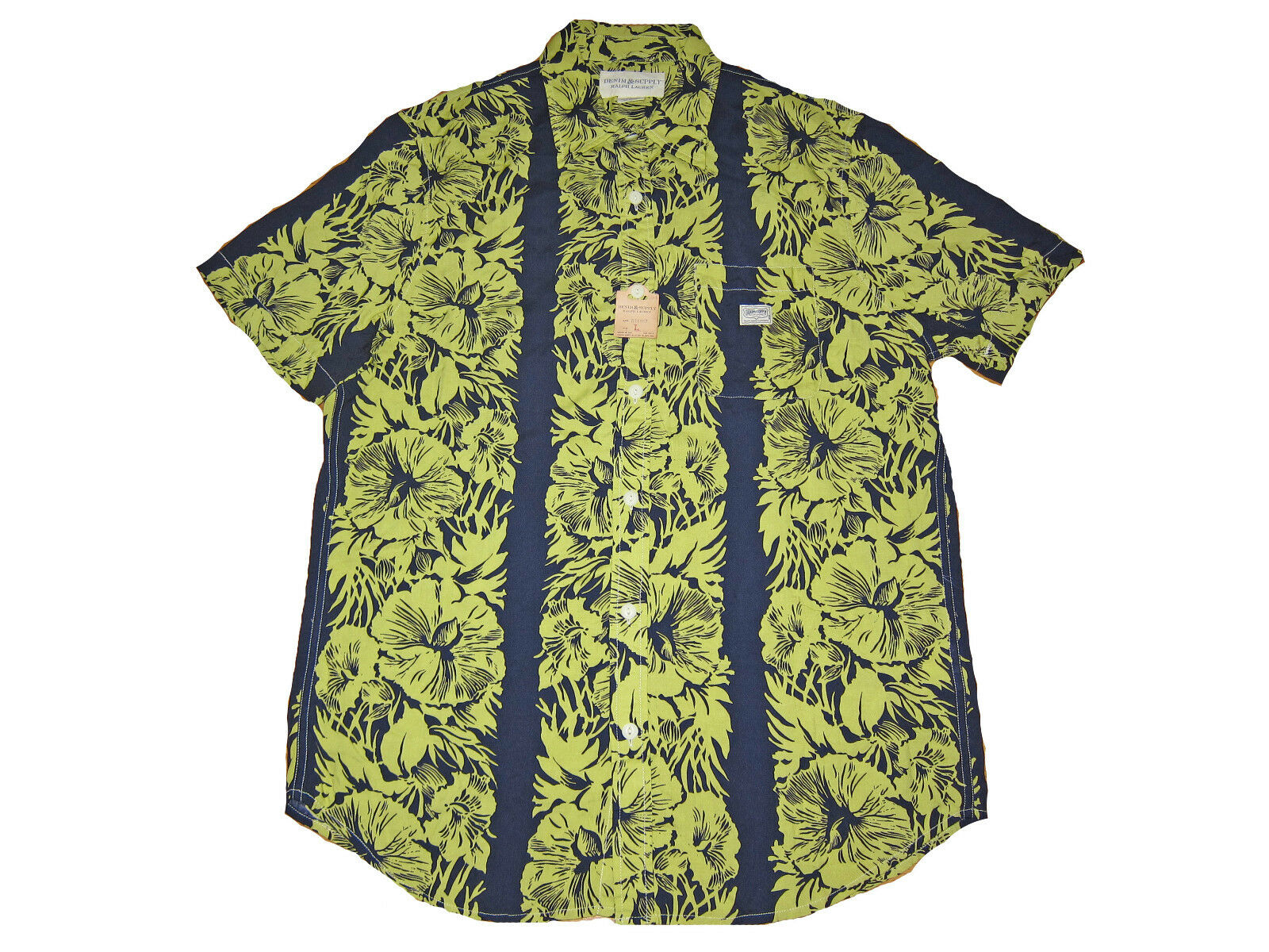 Ralph Lauren Denim and Supply bluee Floral Polo Hawaiian Camp Shirt Large