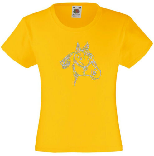 Animal Rhinestone Diamanté Embellished T Shirt Gift  for Girls Horse Face