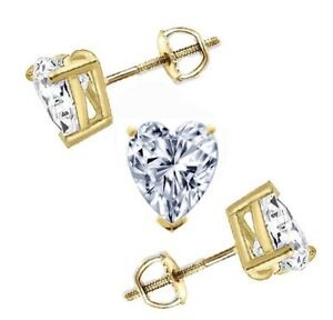 d0aef203e 2 Ct Heart Cut Stud Diamond Earrings in Solid 14k Yellow Gold Screw ...