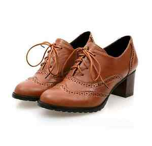 Vintage-Women-039-s-Brogue-Lace-Up-Pointed-Toe-Block-Mid-Heels-Shoes-Pumps-Oxfords