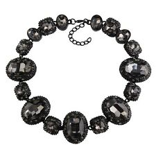 NEW BEAUTIFUL ZARA BLACK FACETED SPARKLING STONES STATEMENT NECKLACE