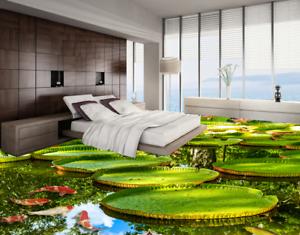 Estanque verde 3D fishs 6 Impresión De Parojo Papel Pintado Mural de piso 5D AJ Wallpaper Reino Unido Limón