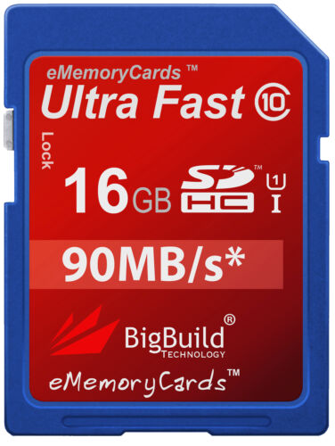 16GB Memory card for Canon IXUS 155 CameraClass 10 80MB//s SD SDHC New UK