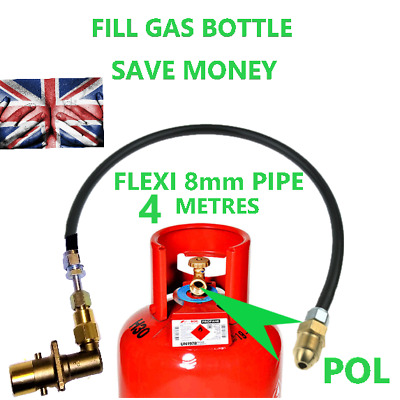 UK Bayonet LPG Filling Point to Calor Gas Propane Bottle 4 Meters FLEXI pipe pol