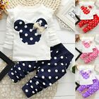 2pcs Baby Toddler Girls Tops+Pants Outfits&Set Spring Cotton Clothes Polka Dot