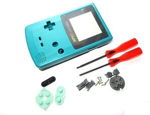 Game-Boy-Color-Gameboy-GBC-Teal-Blue-Shell-Case-Housing-w-Screen-amp-Tools-UK