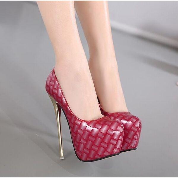 8668ab8f895940 éscarpins femme hauts affiné 16.5 cm plateau talons aiguilles rouge rouge  rouge comme cuir   Spécial Acheter 2cf096