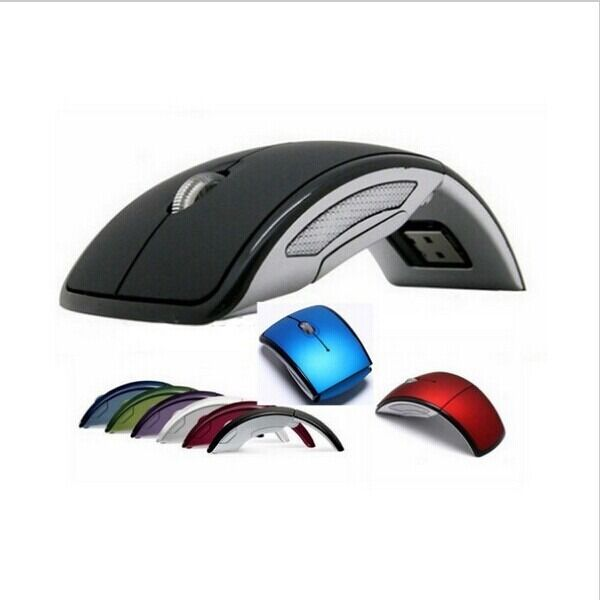 Black USB 2.4G Snap-in Receiver Optical Folding Arc Foldable Wireless Mouse Mice