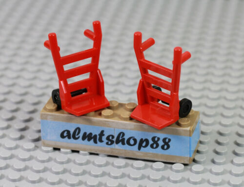 LEGO 2x Red Hand Carts Truck Dolly Minifigure Utensil City Town Train Lot