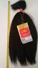"24K-100% REAL Virgin Human Hair Remy 18"" BULK WET N WAVY 100G #2 EXTENSIONS EXT"