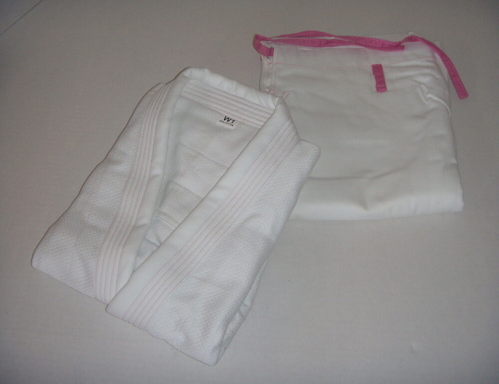 Pink Jiu Jitsu Gi for Womens - WHITE PINK, 100% Cotton Diamond Weave Preshrunk.