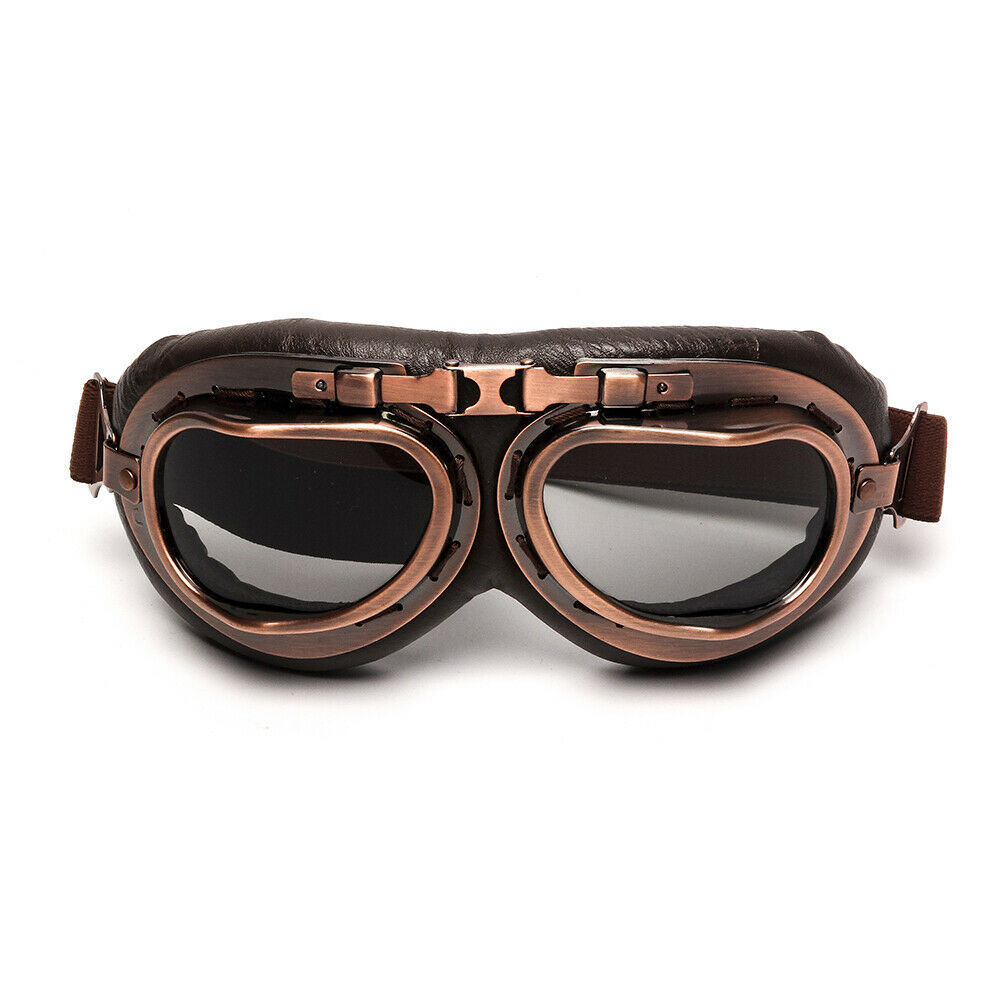 Retro Vintage Aviator Pilot Motorcycle Goggles UV Protection for Harley Copper