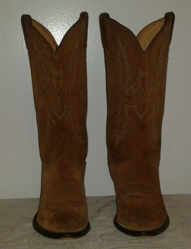 TONY LAMA Chestnut Brown Suede cowboy/western boots Size 7 1/2 D Made in Mexico
