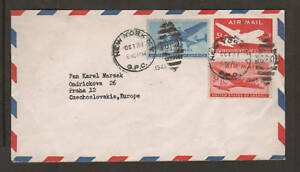 US-Sc-C30-C32-uprate-1946-UC14-Air-Mail-Envelope-New-York-to-Czechoslovakia