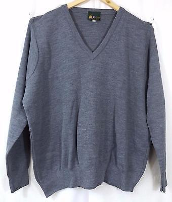 """Balmoral Men's Wool Blend V-Neck Jumper Grey Size 50"""" New"""