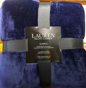 """LAUREN RALPH LAUREN Classic MicroMink Blanket NAVY BLUE KING 108""""x"""