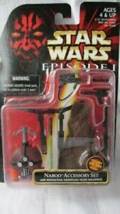 STAR WARS EPISODE I NABOO ACCESSORY SET with RETRACTING GRAPPLING HOOK BACKPACK