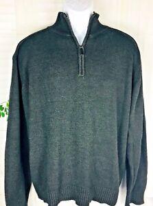 Oscar De La Renta Mens Sweater Pullover 14 Zip Size Xl Gray Long