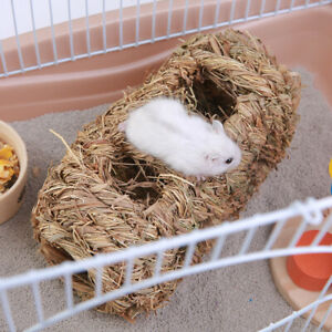Grass-Straw-Small-Pet-Rabbit-Hamster-Guinea-Pig-Cage-Nest-House-Chew-Bed-Tunnel