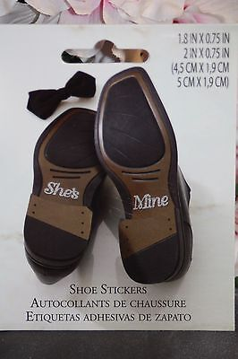 She's Mine Groom Wedding Shoe Stickers 720