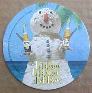 Details about CORONA BEER LET IT SUN Coaster, MAT with SNOWMAN on Beach,  Sweepstakes MEXICO