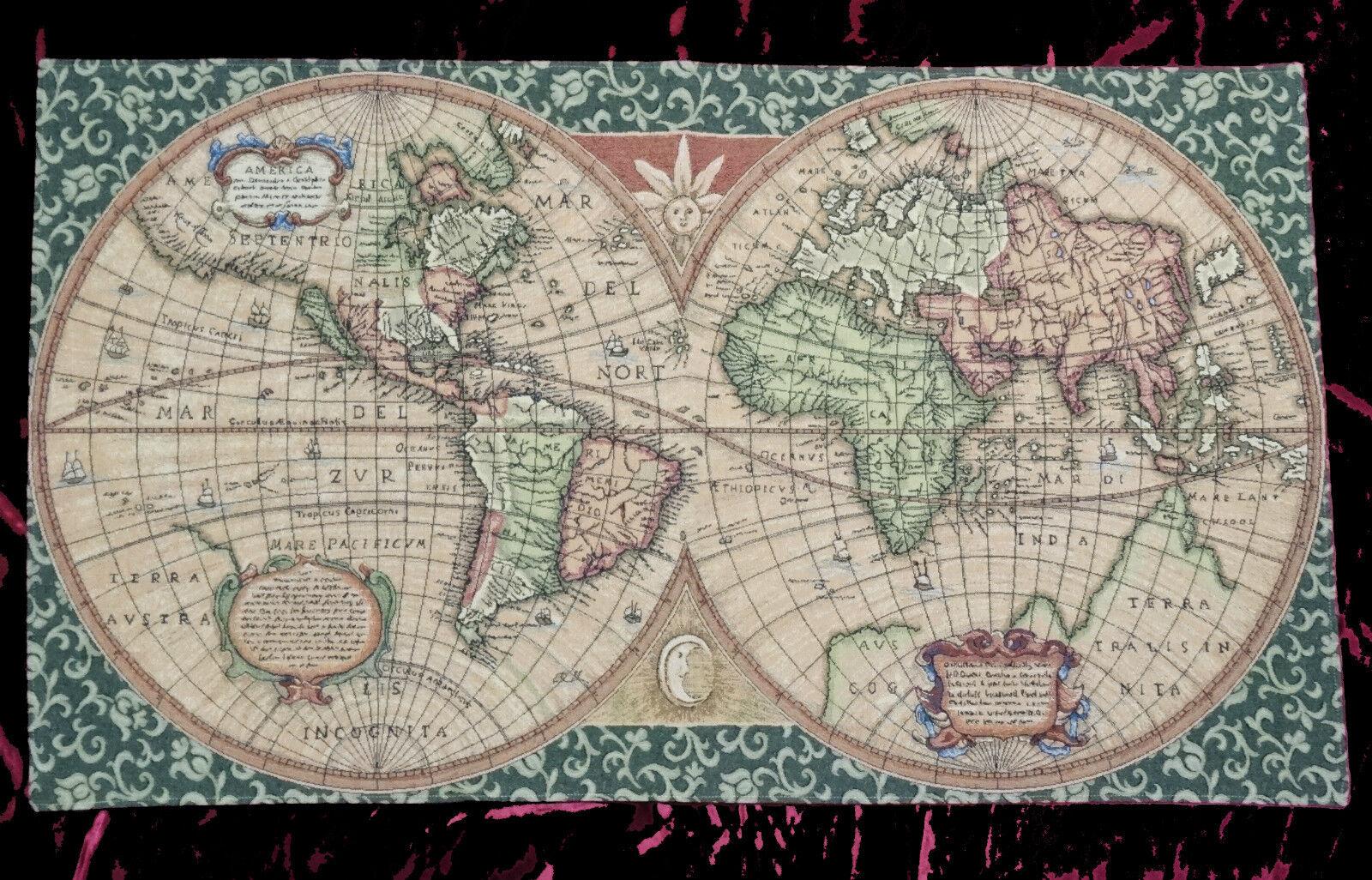 Wandteppich gobelin italy old map weltkarte antik design - Arbeitszimmer grun ...