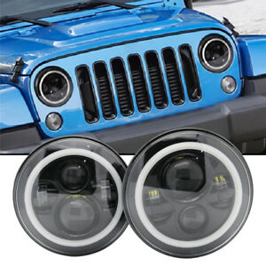 2pcs-7-Inch-Round-LED-Headlight-Halo-Ring-For-Jeep-LAND-ROVER-DEFENDER-90-110