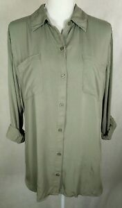 Chicos 2 Button Up Shirt Hi Low Top Long Sleeve Blouse Pockets Roll Tab Green