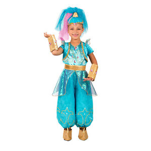 Image is loading Nick-Jr-Shimmer-&-Shine-Child-Girl-039-  sc 1 st  eBay & Nick Jr. Shimmer u0026 Shine Child Girlu0027s Blue Genie Deluxe Costume XS S ...