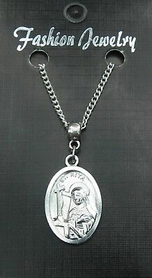 "18/"" or 24/"" Inch Necklace /& Saint Rita Charm Saint St Religious Nun Pendant"