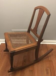 Admirable Details About Vintage Cane Seat Rocker Low Back Rocking Chair Spiritservingveterans Wood Chair Design Ideas Spiritservingveteransorg