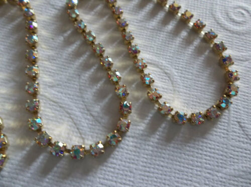 Czech Crystals Choose Length 3mm Clear AB Rhinestone Chain Brass Setting