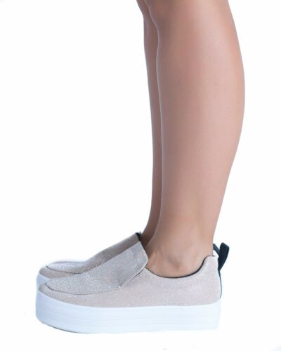 Women/'s Ladies Flat Platform Trainers Pumps Wedge Flatforms Slip On Skater Shoes