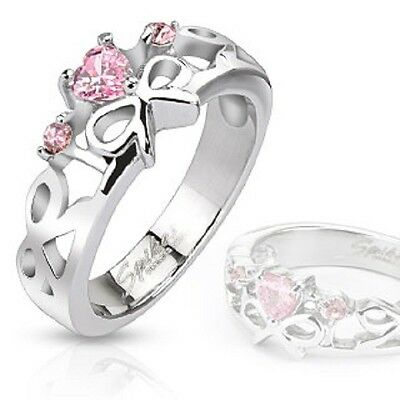 Breast Cancer Awareness Ring with Pink Heart Center CZ and Ribbons
