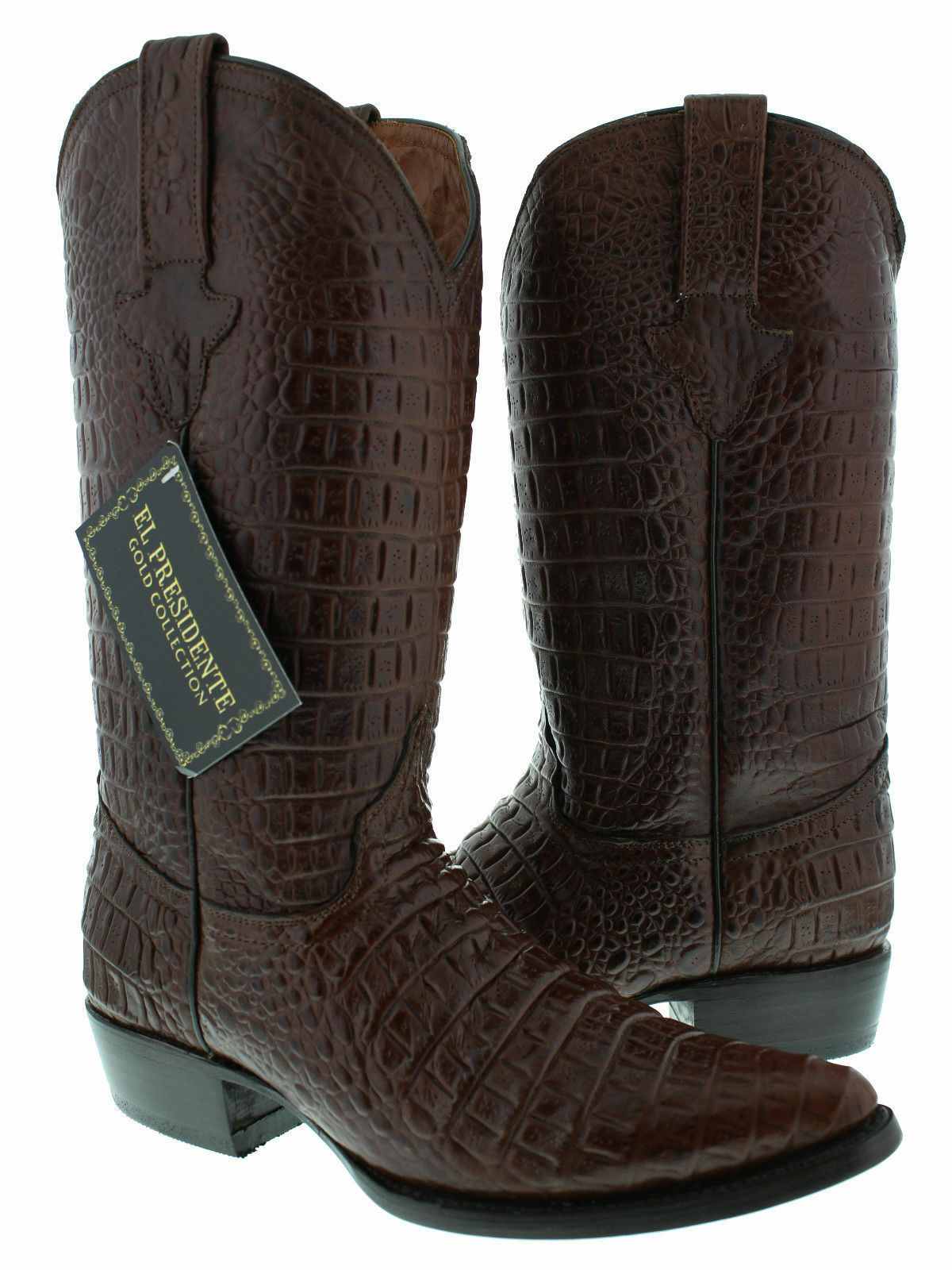 Uomo Brown Full Crocodile Belly Pattern Western Cowboy Stivali J Toe