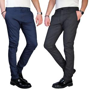 Pantalone-Uomo-Chino-Slim-Fit-Elegante-Quadri-Principe-di-Galles-Invernale