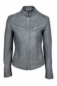 Joan-Grey-Ladies-Women-039-s-Short-Soft-Napa-Sheep-Designer-Real-Leather-Jacket