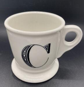 "Anthropologie White Coffee Mug Cup Black Letter ""C"" Initial Monogram Shaving Mug"