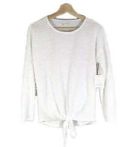 LC-LAUREN-CONRAD-Sz-S-Fuzzy-Pullover-Sweater-Top-White-Crew-Neck-Tie-Hem-NWT