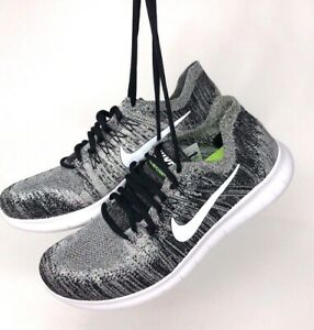 5a6c986f69b Nike men s Free RN Run Flyknit 2017 white black gray oreo running ...