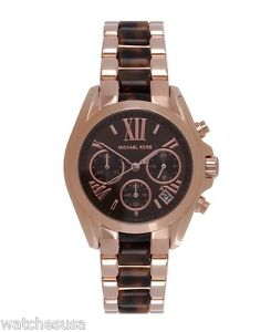 16197b4c0727 Michael Kors Women s Chrono Rose Gold-Tone Brown Acrylic Bracelet ...