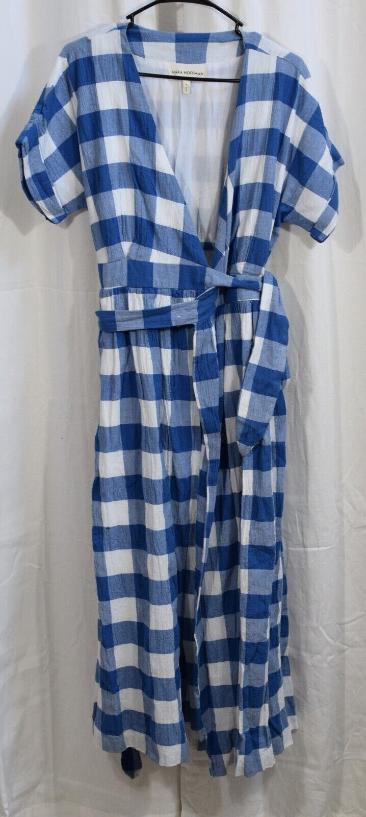 Mara Hoffman Ingrid kort Slieve Wrap Midi Dress Plaid blå  vit SIze Medium