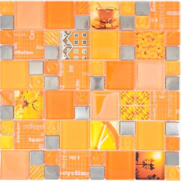Mosaik Fliesenspiegel Glasmosaik silber Orange Wand Küche BAD 88-0817_f 10Matten
