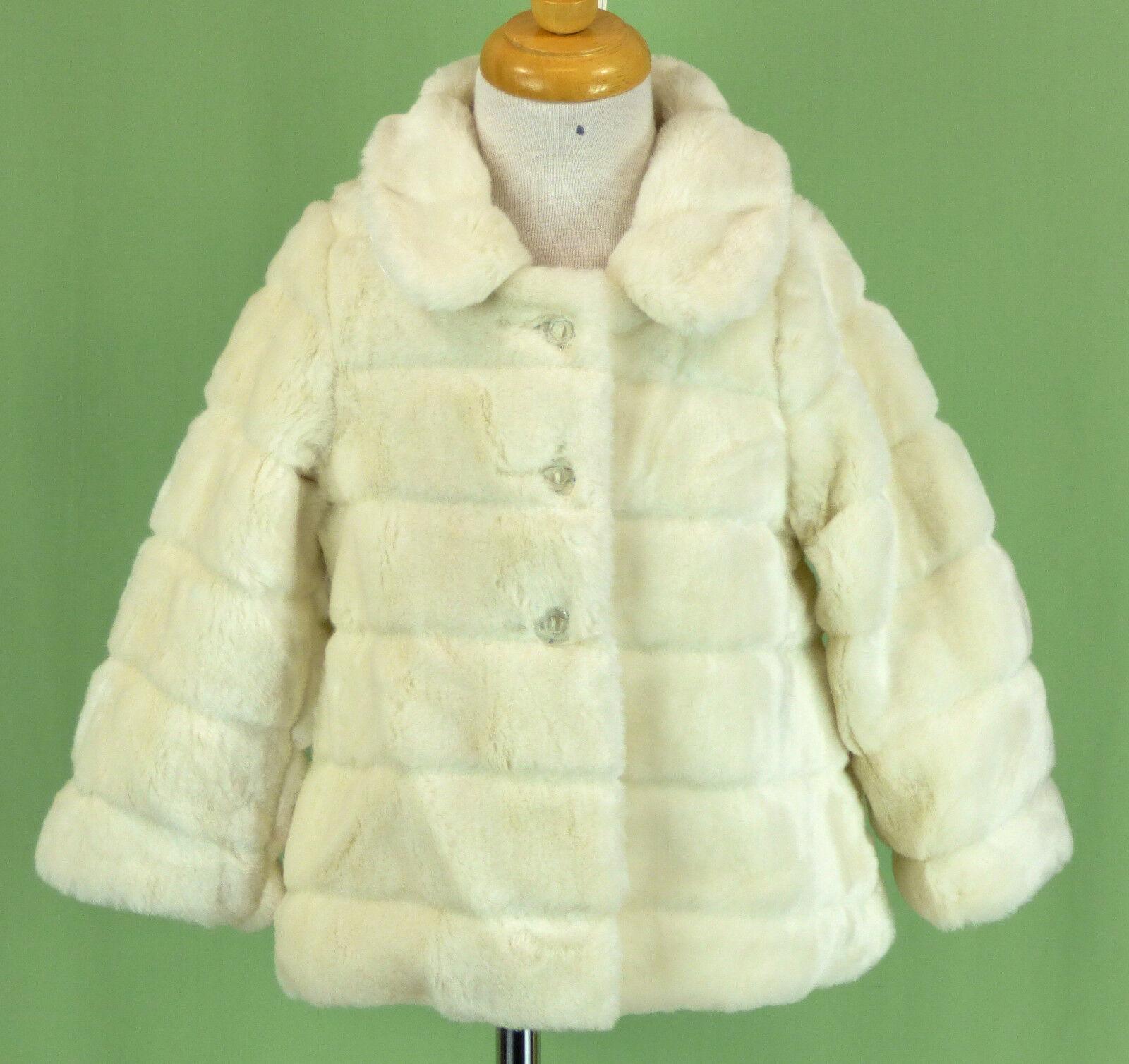 292 NWT bebé GAP niña marfil manga larga chaqueta de abrigo de invierno de piel sintética borrosa NUEVO 4