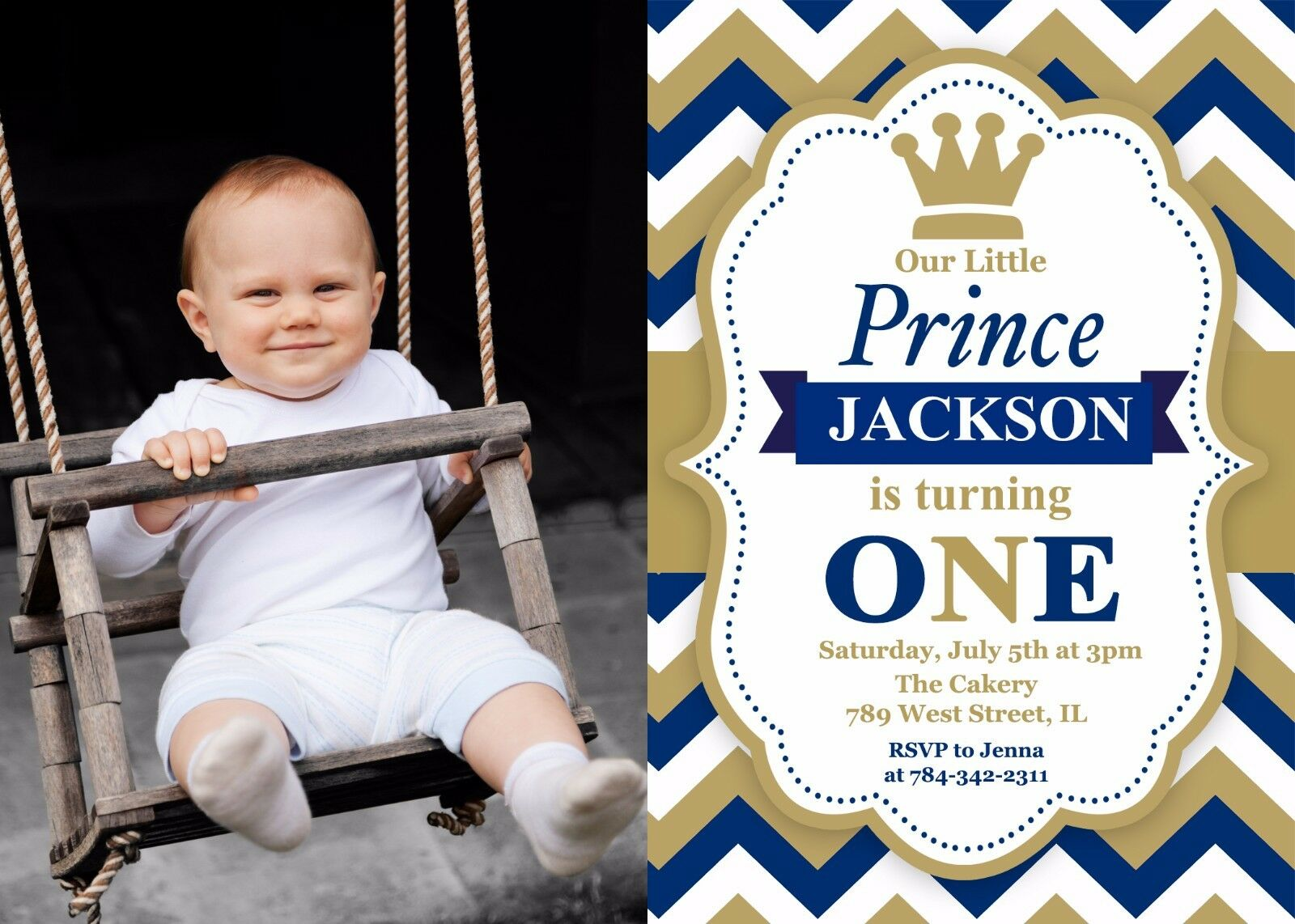 Prince Birthday Invitation First Party One
