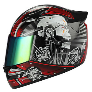 NEW-1STORM-DOT-MOTORCYCLE-STREET-BIKE-FULL-FACE-HELMET-MECHANIC-WHITE-SKULL-RED