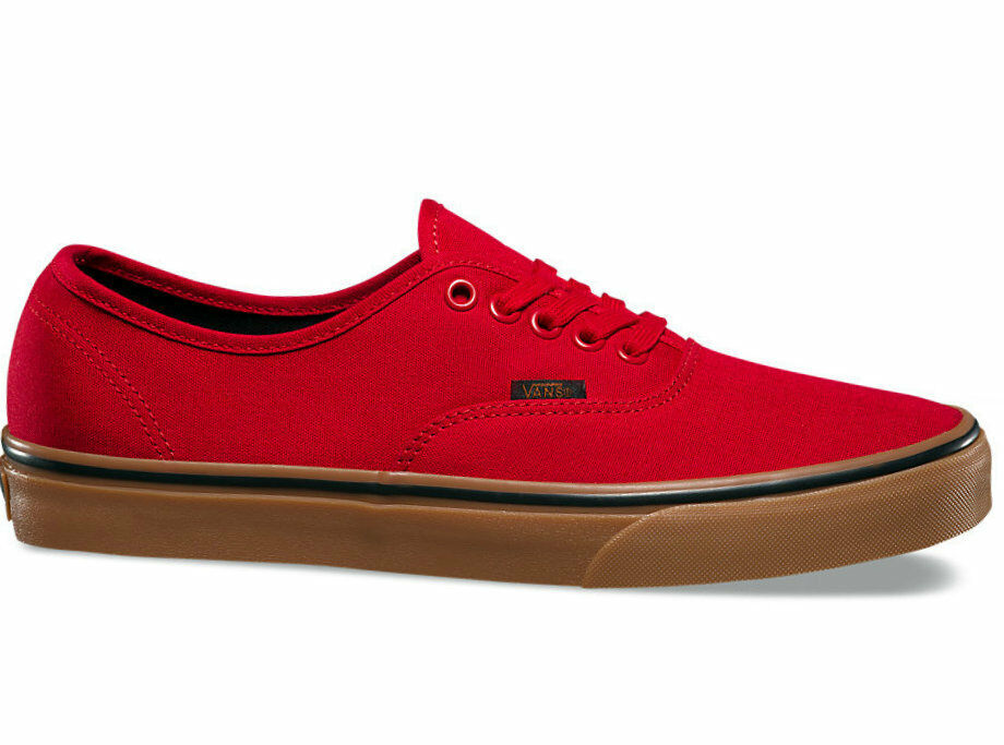 Vans Authentic Gum Racing Red Black Mens Womens Canvas shoes All Sizes